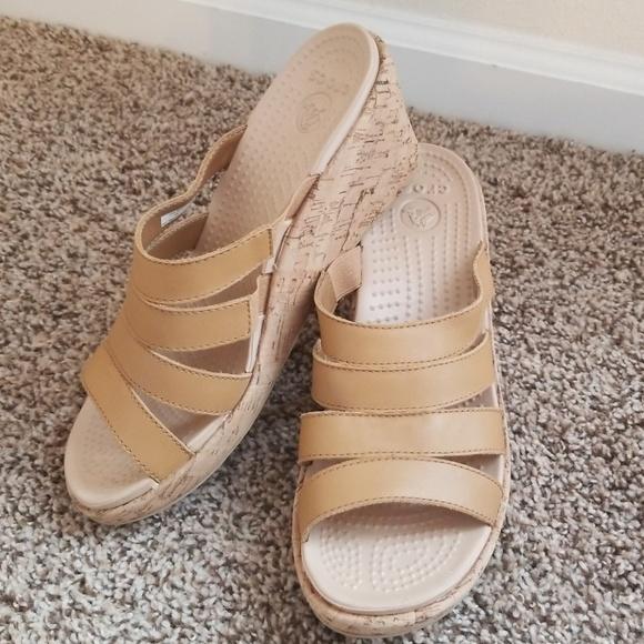 22993aa4bce CROCS Shoes - Crocs A-leigh wedge cork sandals 9
